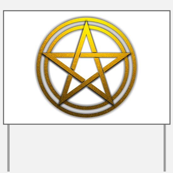 Gold Metal Pagan Pentacle Yard Sign