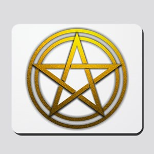 Gold Metal Pagan Pentacle Mousepad