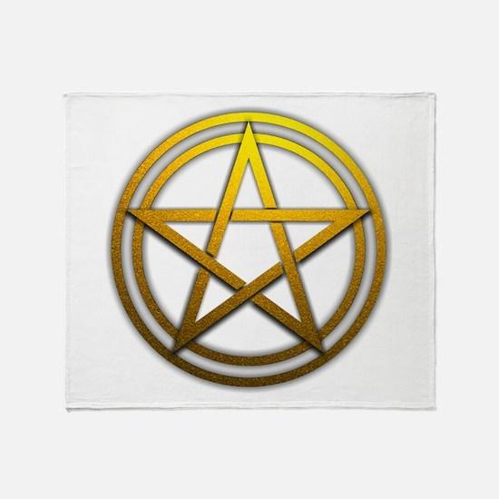 Gold Metal Pagan Pentacle Throw Blanket