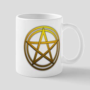 Gold Metal Pagan Pentacle Mug