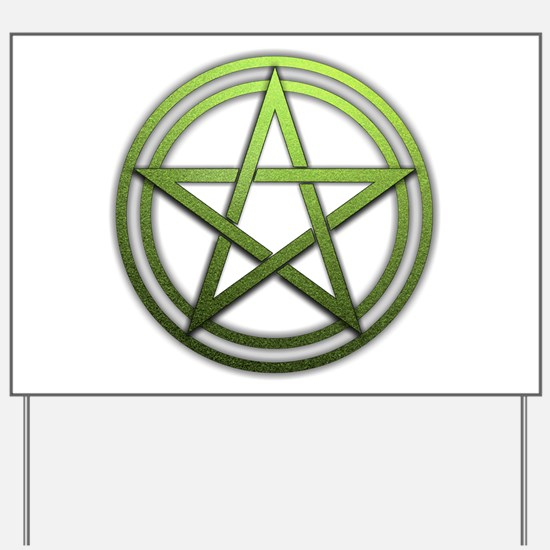 Green Metal Pagan Pentacle Yard Sign