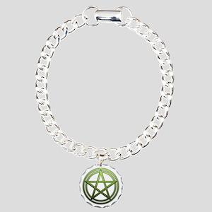 Green Metal Pagan Pentacle Charm Bracelet, One Cha