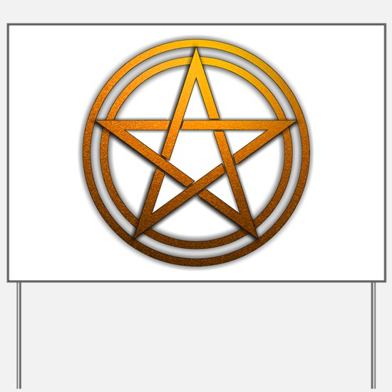 Orange Metal Pagan Pentacle Yard Sign