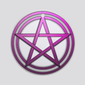 Pink Metal Pagan Pentacle Ornament (Round)