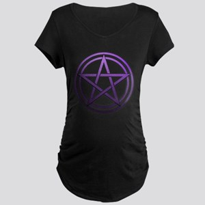 Purple Metal Pagan Pentacle Maternity Dark T-Shirt