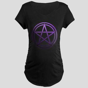 Purple Metal Pagan Pentacle Maternity Dark T-Shirt