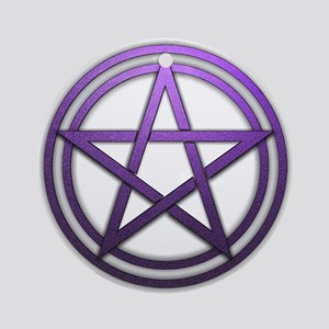 Purple Metal Pagan Pentacle Ornament (Round)