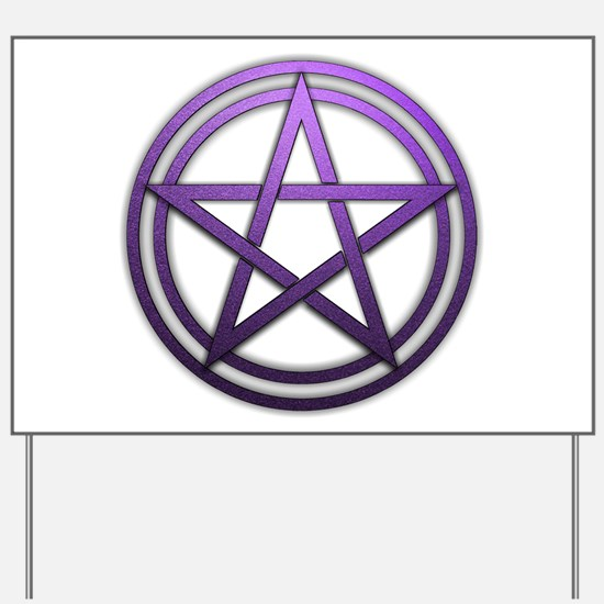 Purple Metal Pagan Pentacle Yard Sign