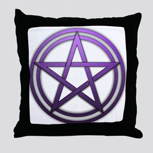 Purple Metal Pagan Pentacle Throw Pillow