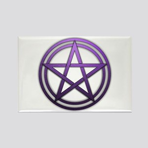 Purple Metal Pagan Pentacle Rectangle Magnet