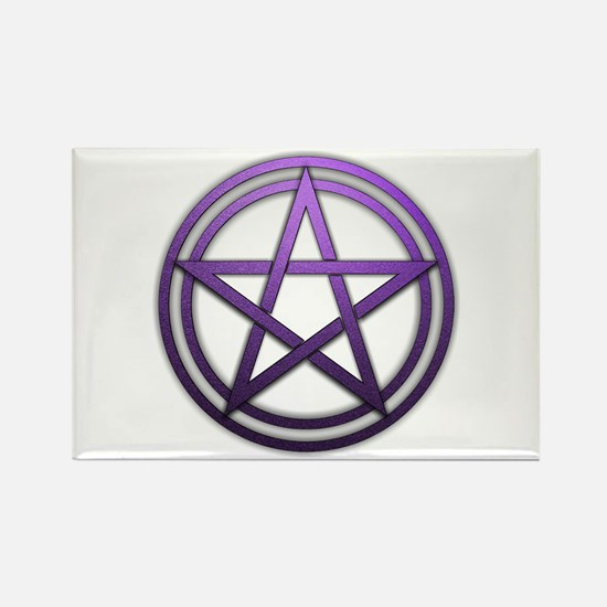 Purple Metal Pagan Pentacle Rectangle Magnet