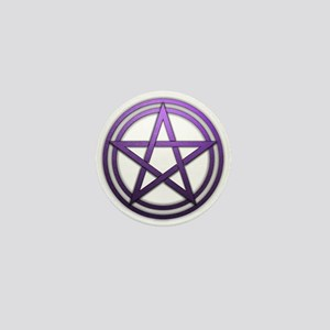 Purple Metal Pagan Pentacle Mini Button