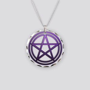 Purple Metal Pagan Pentacle Necklace Circle Charm