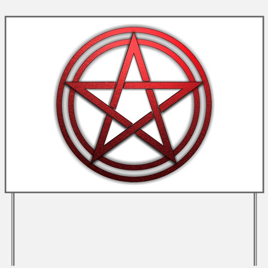 Red Metal Pagan Pentacle Yard Sign