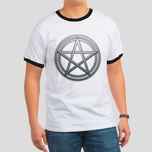 Silver Metal Pagan Pentacle Ringer T