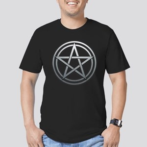Silver Metal Pagan Pentacle Men's Fitted T-Shirt (