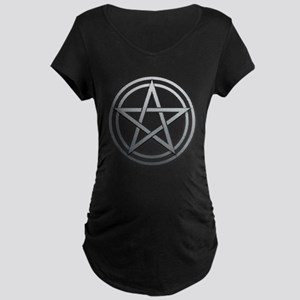 Silver Metal Pagan Pentacle Maternity Dark T-Shirt