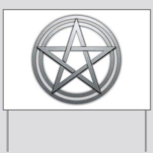 Silver Metal Pagan Pentacle Yard Sign