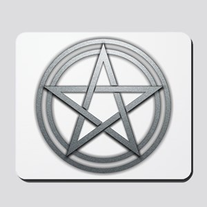 Silver Metal Pagan Pentacle Mousepad