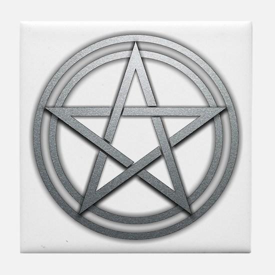 Silver Metal Pagan Pentacle Tile Coaster