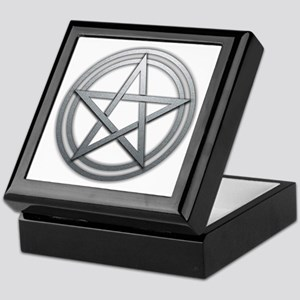 Silver Metal Pagan Pentacle Keepsake Box