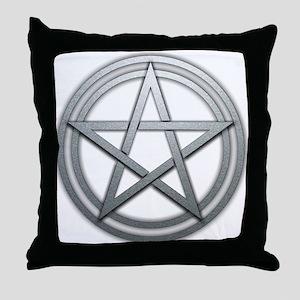 Silver Metal Pagan Pentacle Throw Pillow
