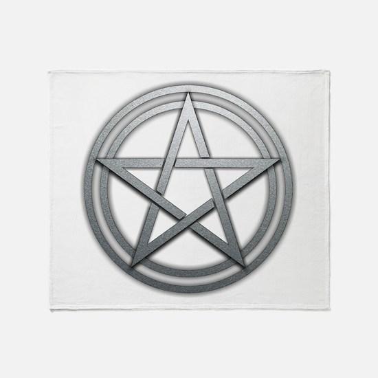 Silver Metal Pagan Pentacle Throw Blanket