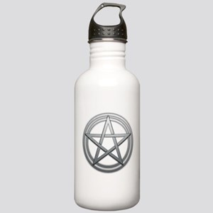 Silver Metal Pagan Pentacle Stainless Water Bottle