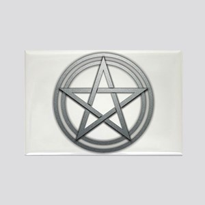 Silver Metal Pagan Pentacle Rectangle Magnet