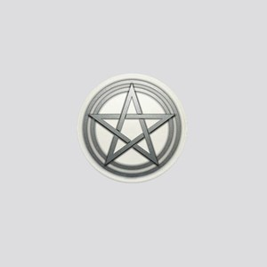 Silver Metal Pagan Pentacle Mini Button