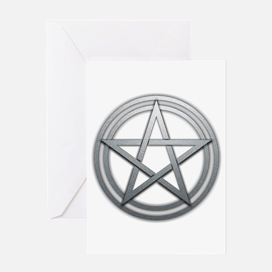 Silver Metal Pagan Pentacle Greeting Card