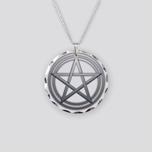 Silver Metal Pagan Pentacle Necklace Circle Charm