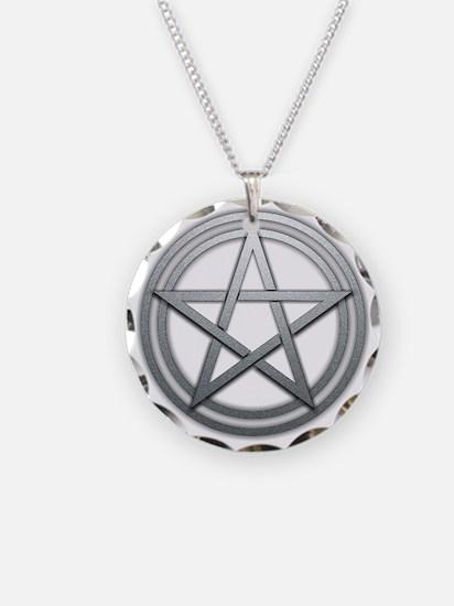 Silver Metal Pagan Pentacle Necklace Circle Charm