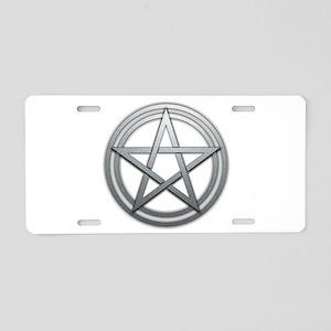 Silver Metal Pagan Pentacle Aluminum License Plate
