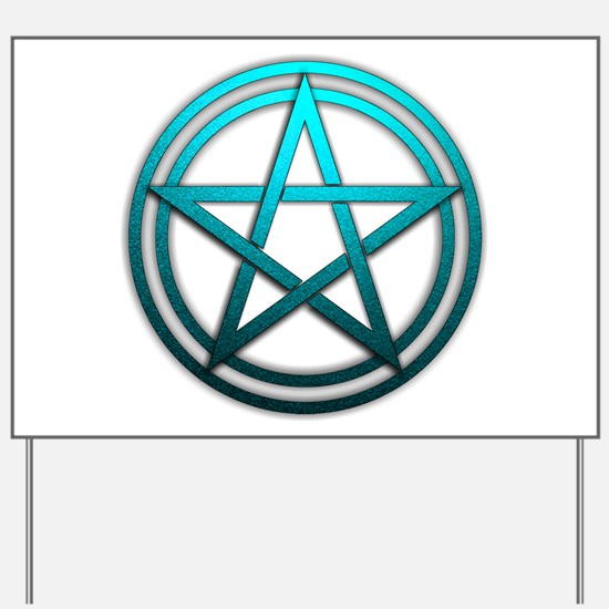 Teal Metal Pagan Pentacle Yard Sign