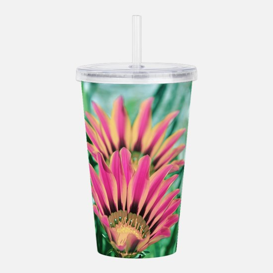Hot Pink Daisy Acrylic Double-wall Tumbler