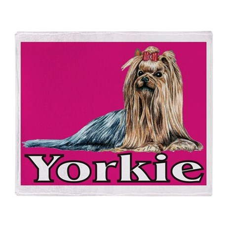 Urban Yorkie Pink Throw Blanket