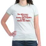 Genius and Stupidity Jr. Ringer T-Shirt
