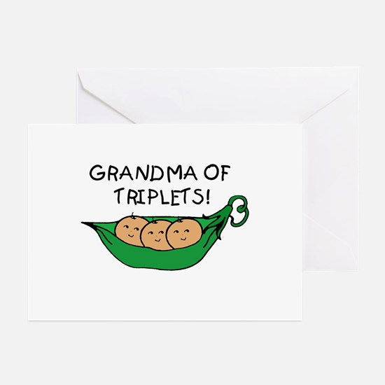 Grandma of Triplets Pod Greeting Cards (Package of