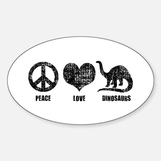 Peace Love Dinosaurs Sticker (Oval)