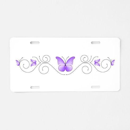 Purple Butterflies Aluminum License Plate