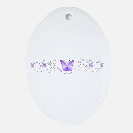 Purple Butterflies Ornament (Oval)