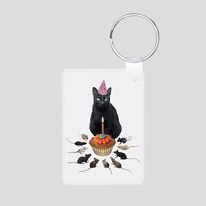 Black Cat Birthday Rats Aluminum Photo Keychain