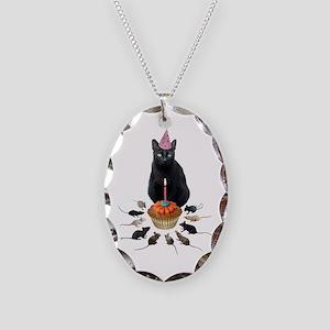Black Cat Birthday Rats Necklace Oval Charm