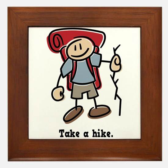 Cute Take a Hike Framed Tile