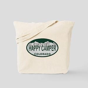Happy Camper Colo License Plate Tote Bag