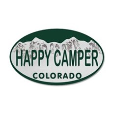 Happy Camper Colo License Plate Wall Decal