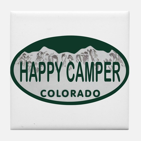 Happy Camper Colo License Plate Tile Coaster