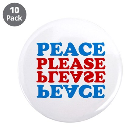 """peace please (blue/red) 3.5"""" Button (10 pack)"""