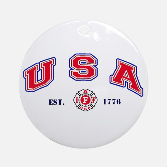 USA Firefighter Ornament (Round)